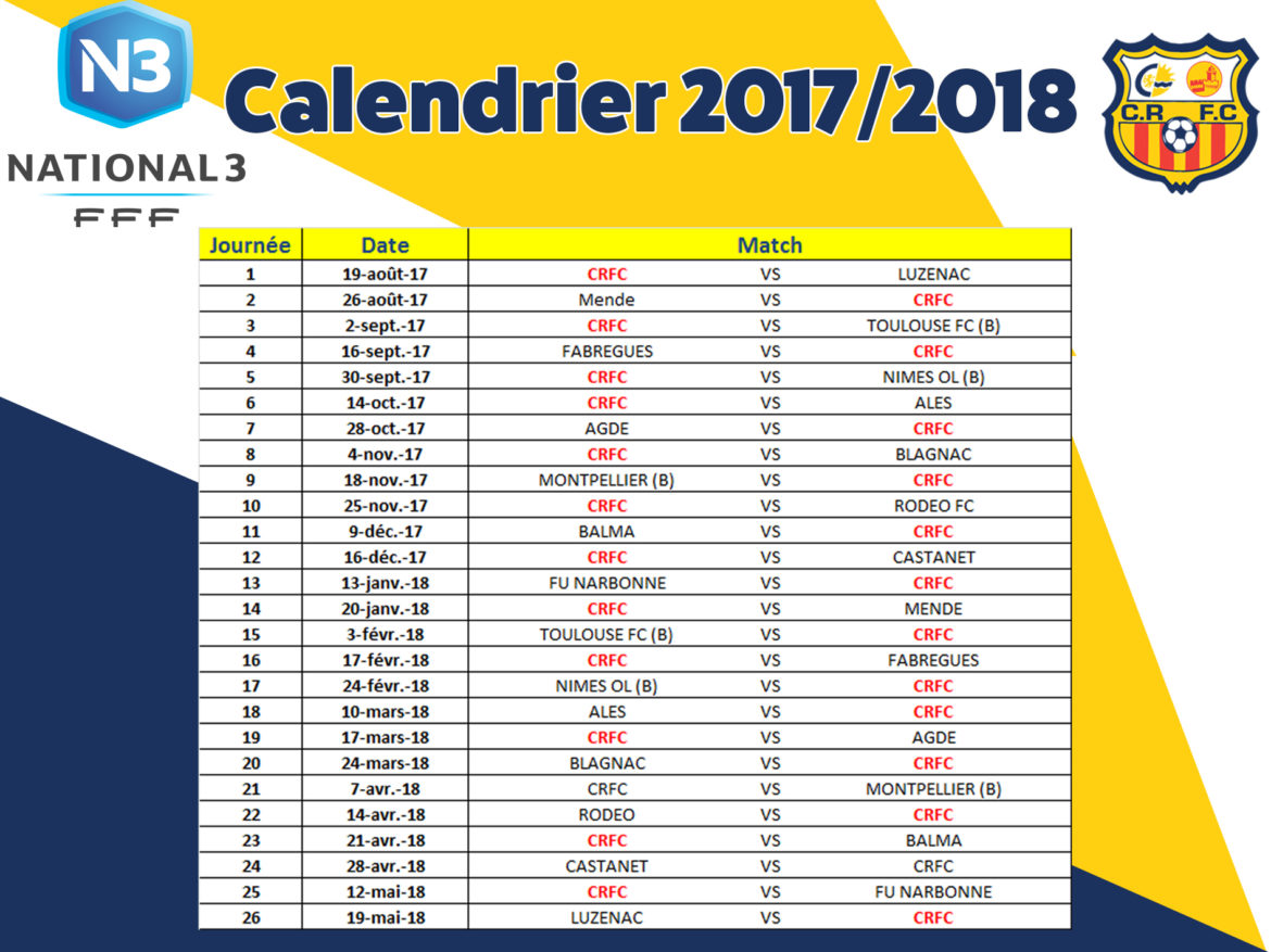 National 3 Foot Calendrier.National 3 Calendrier 2017 2018 Football Club Canet En